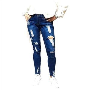 Juniors Womens Blue Stretch Jeans Ripped Uv-624